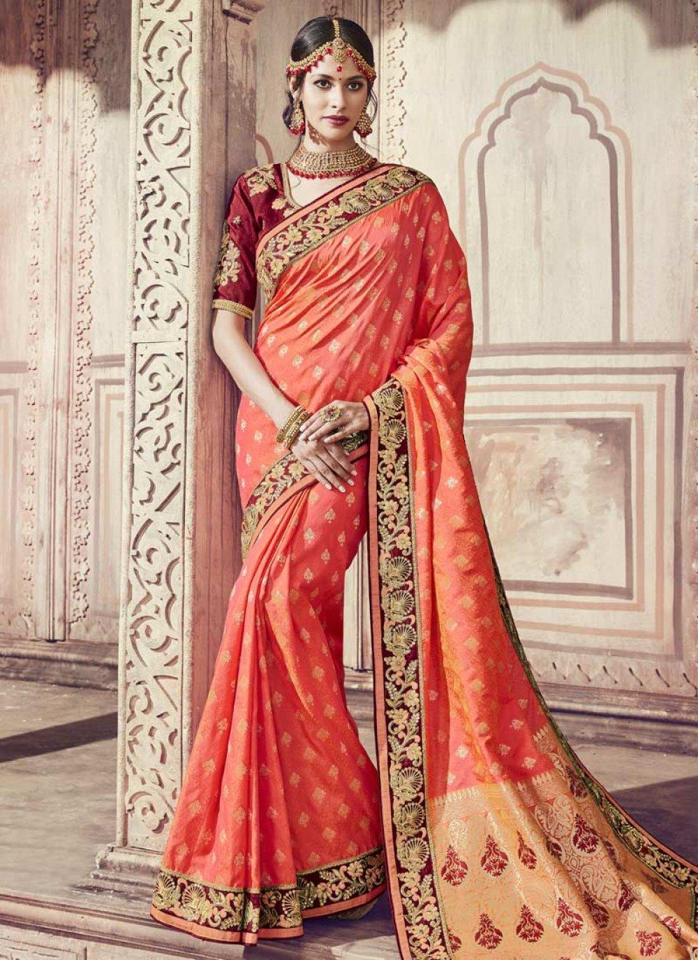 Orange Zari Wedding Classic Saree