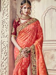 Orange Zari Wedding Classic Saree