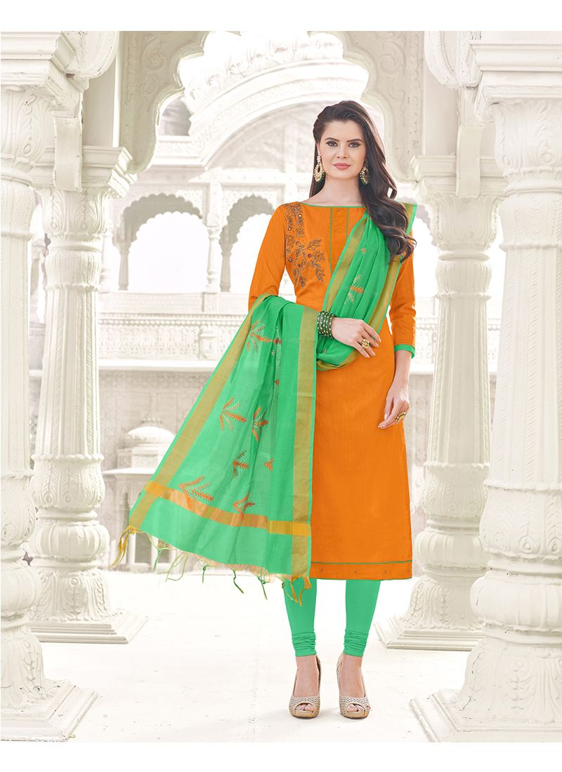 Orange Zari Work Cotton   Churidar Designer Suit