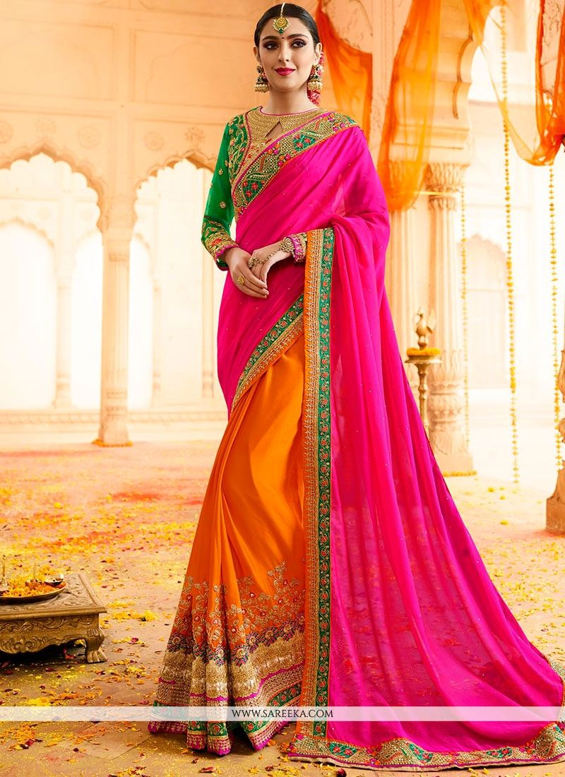 Paisley Print Work Hot Pink and Orange Fancy Fabric Designer Half N Half Saree