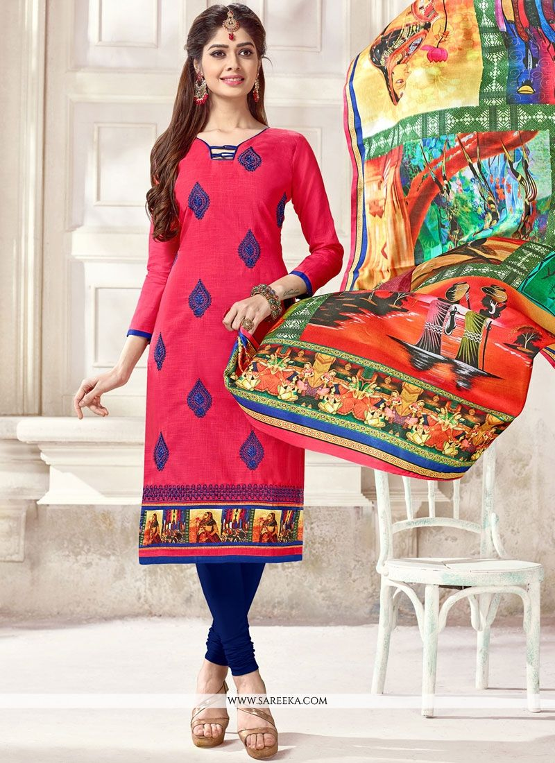 Paisley Print Work Hot Pink Cotton   Churidar Suit