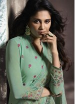 Pant Style Suit Print Faux Georgette in Sea Green
