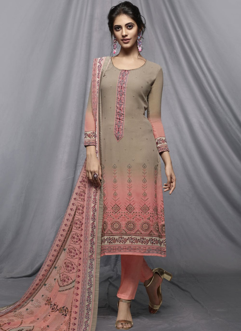 Pant Style Suit Printed Georgette in Grey and Pink