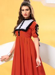 Party Wear Kurti Patchwork Cotton   in Red