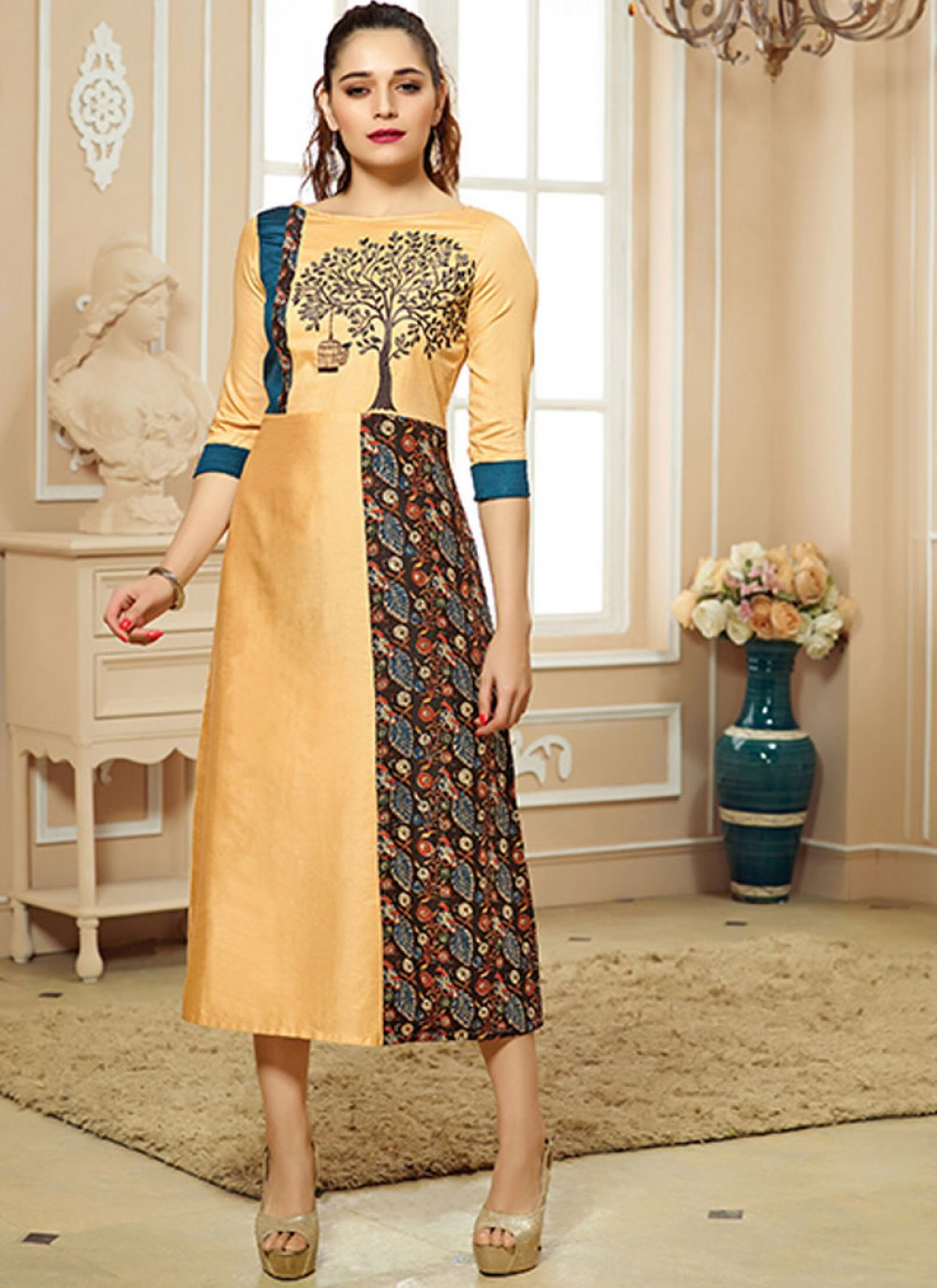 Party Wear Kurti Print Cotton   in Yellow