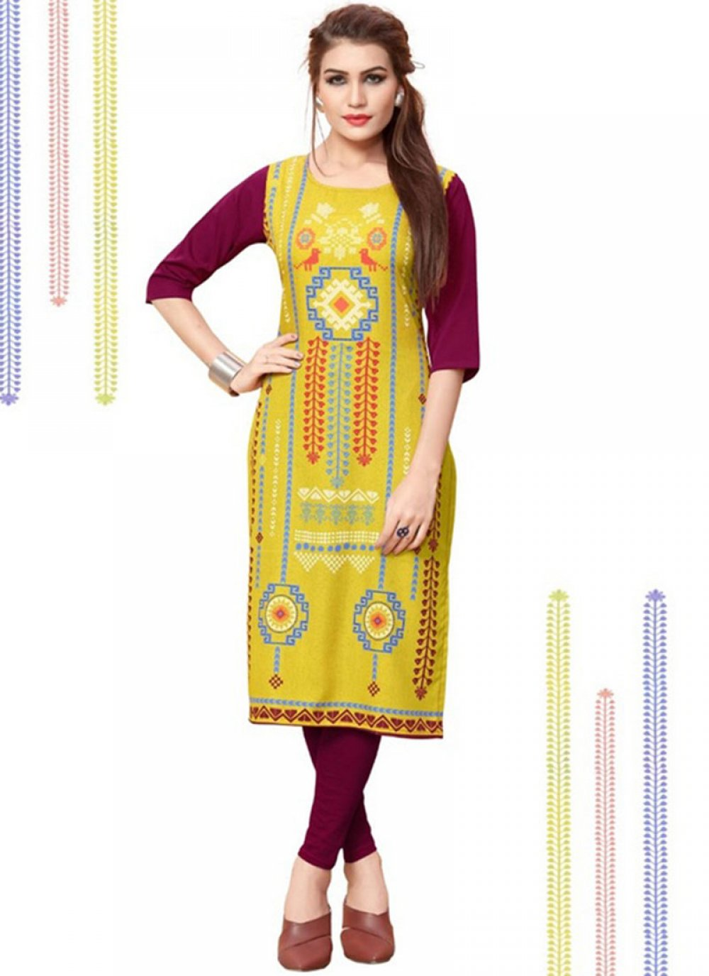 Party Wear Kurti Printed Faux Crepe in Yellow