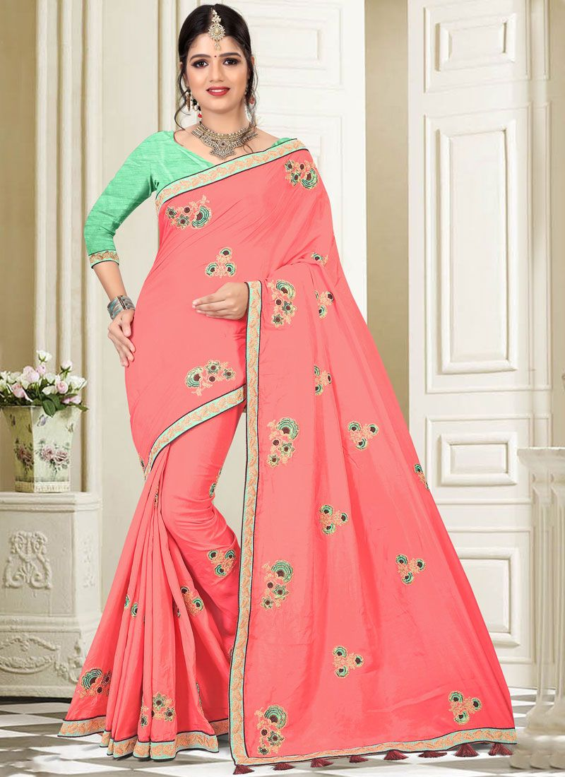 Patch Border Art Silk Designer Traditional Saree in Peach