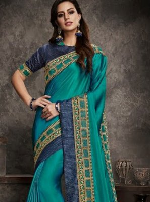 Patch Border Art Silk Traditional Saree in Blue