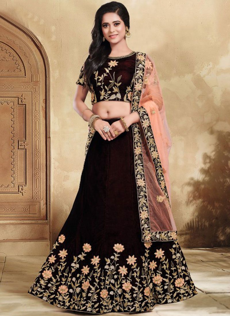 Patch Border Brown Lehenga Choli