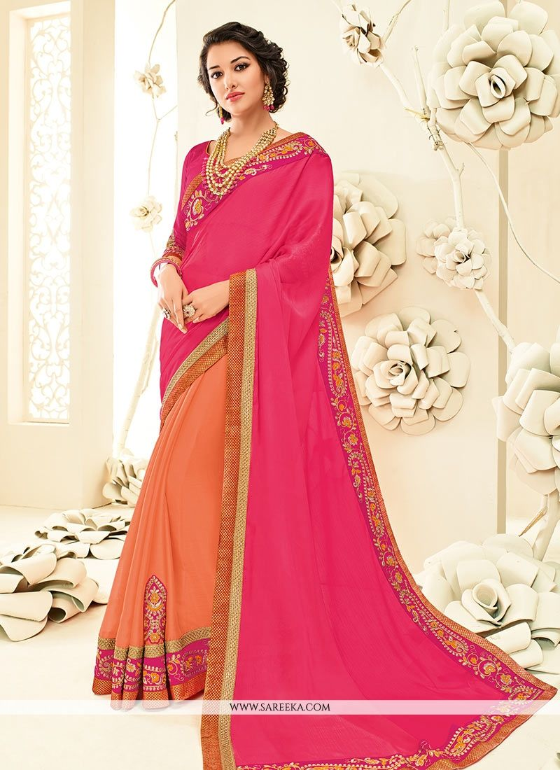 Patch Border Faux Chiffon Designer Half N Half Saree in Hot Pink and Orange