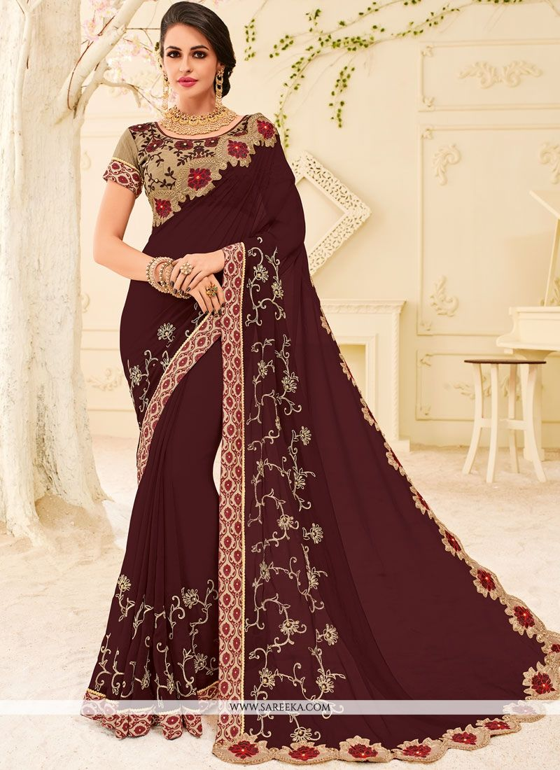 Patch Border Faux Georgette Designer Saree in Maroon