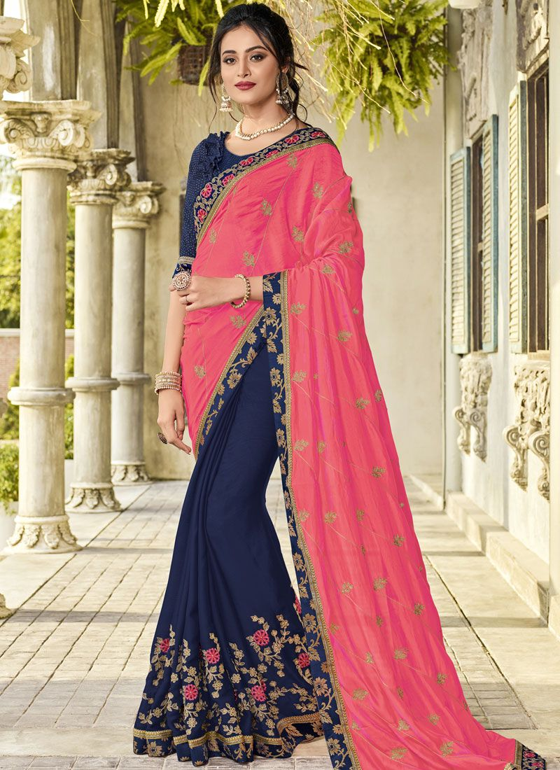 Patch Border Faux Georgette Navy Blue and Pink Half N Half  Saree