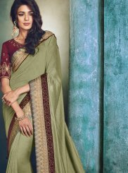 Patch Border Green Art Silk Designer Traditional Saree