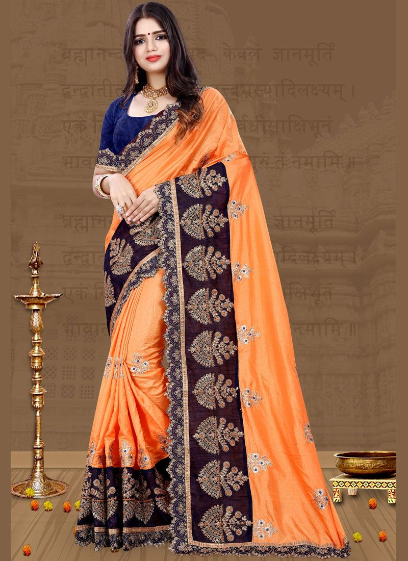 Patch Border Orange Traditional Designer Saree