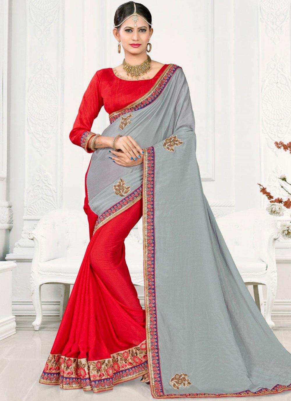 Patch Border Satin Silk Designer Half N Half Saree in Grey and Red