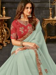 Patch Border Tissue Blue Classic Designer Saree