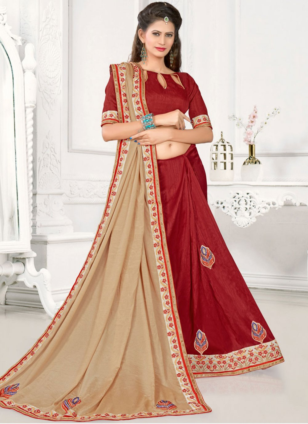 Patch Border Work Art Silk Designer Half N Half Saree