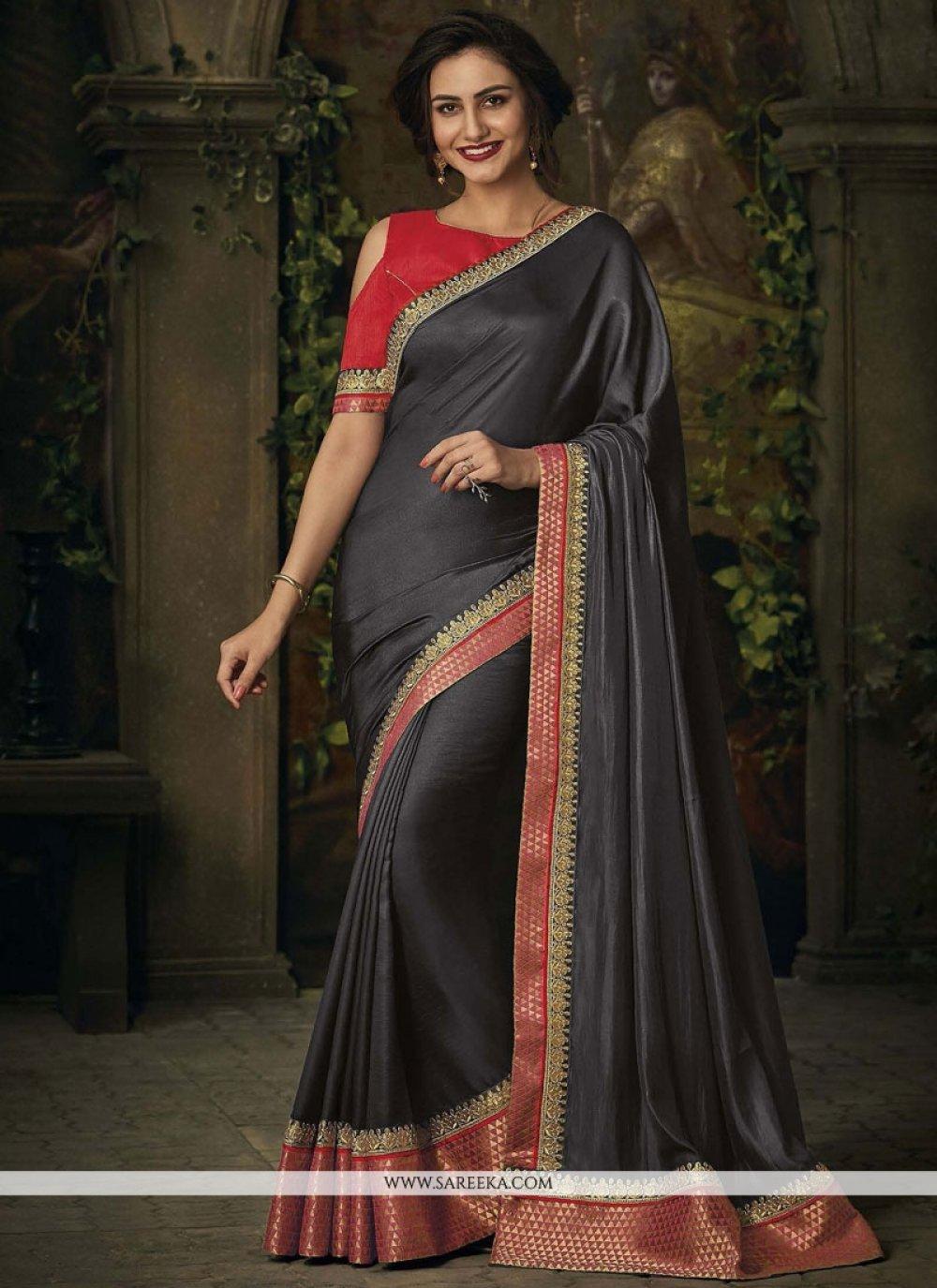 Patch Border Work Art Silk Designer Traditional Saree