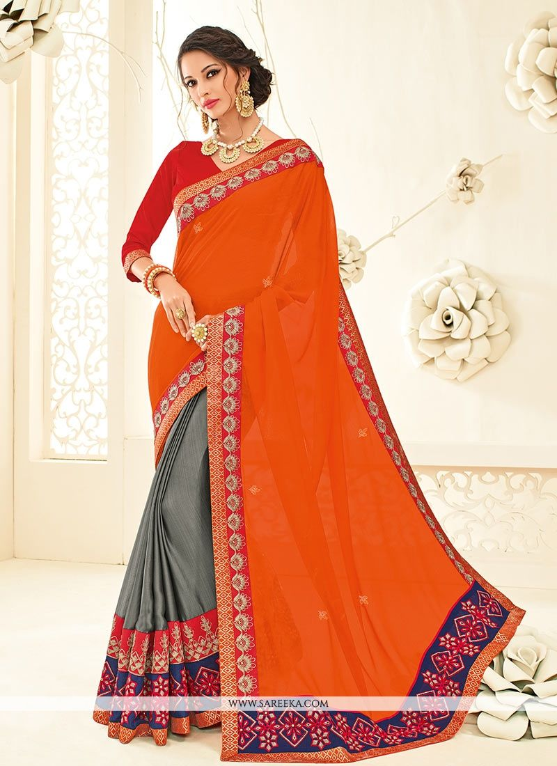 Patch Border Work Designer Half N Half Saree