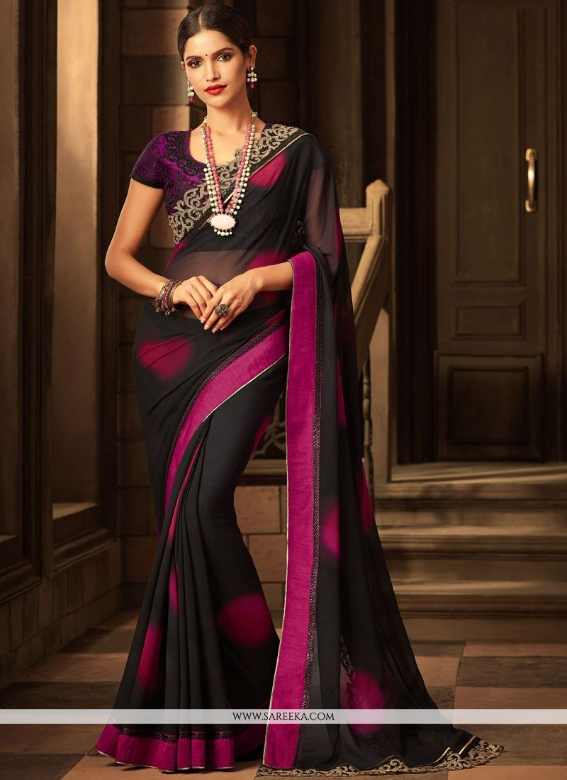 Patch Border Work Faux Georgette Classic Designer Saree