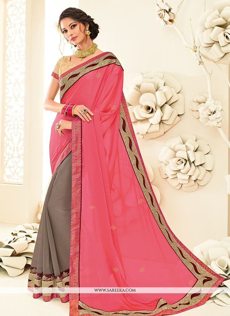 Patch Border Work Faux Georgette Designer Half N Half Saree