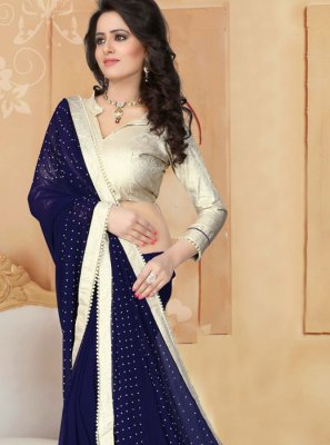 Patch Border Work Navy Blue Saree