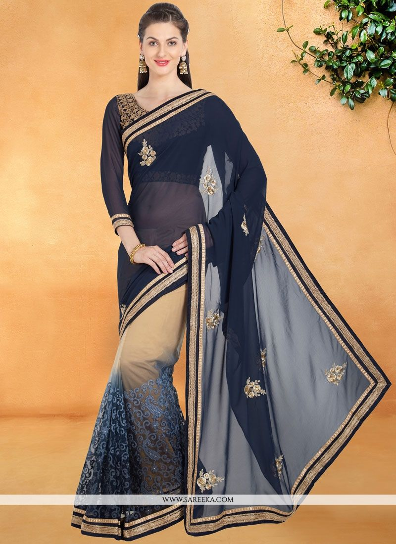 e4d4919e7f Buy Patch Border Work Navy Blue Shaded Saree Online : 75766 -