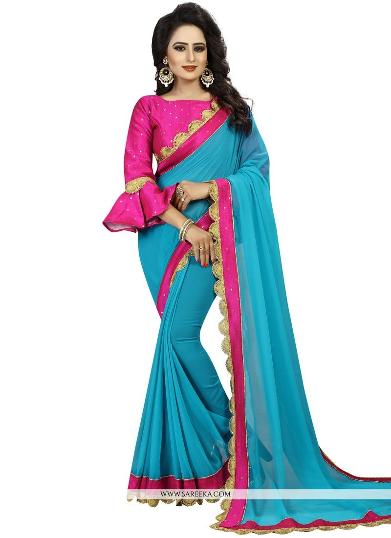 Patch Border Work Saree
