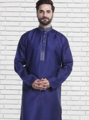 Patchwork Cotton   Kurta Pyjama in Blue