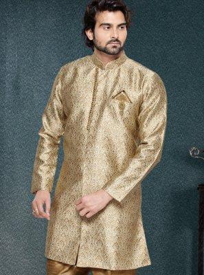 Patchwork Jacquard Silk Kurta Pyjama in Beige
