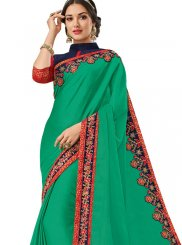 Patchwork Silk Trendy Saree in Green