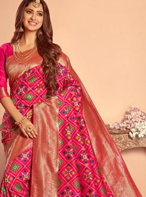 Patola Silk  Hot Pink Weaving Traditional Designer Saree