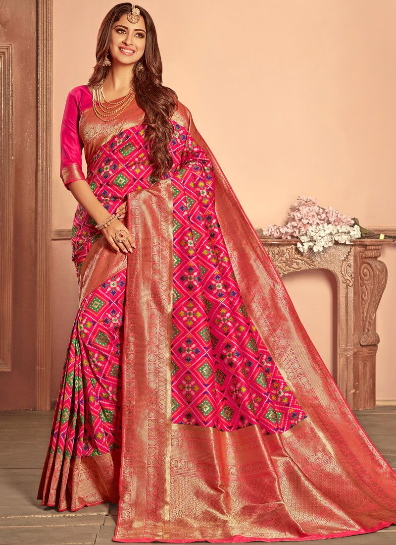 72385f5e1a0ee Shop Patola Silk Hot Pink Weaving Traditional Designer Saree Online   92216  -