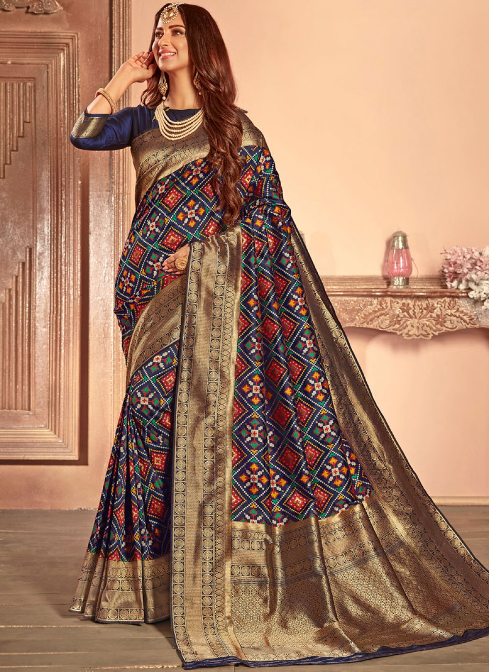Patola Silk  Weaving Multi Colour Traditional Designer Saree