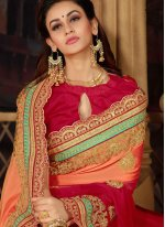 Peach and Red Faux Chiffon Festival Shaded Saree