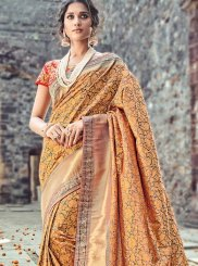 Buy Online Peach and Red Traditional Designer Saree