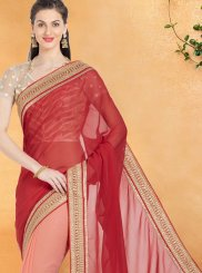 Peach and Rust Net Casual Saree