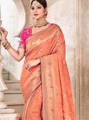 Peach Art Silk Embroidered Traditional Designer Saree