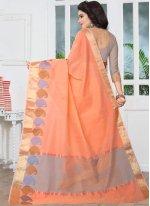 Peach Banarasi Silk Designer Traditional Saree