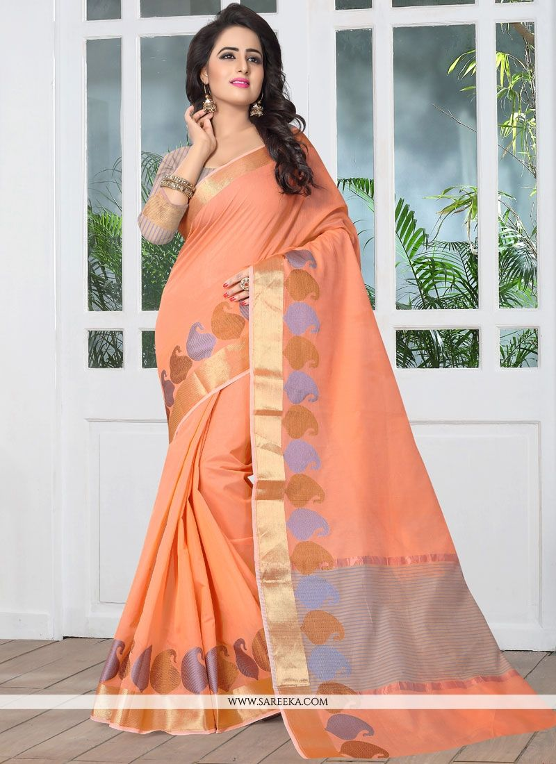 Peach Banarasi Silk Designer Traditional Saree