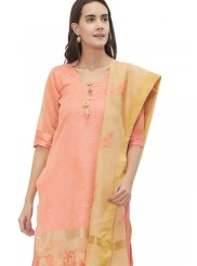 Peach Casual Chanderi Churidar Suit
