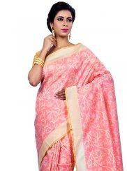 Peach Chanderi Zari Classic Designer Saree