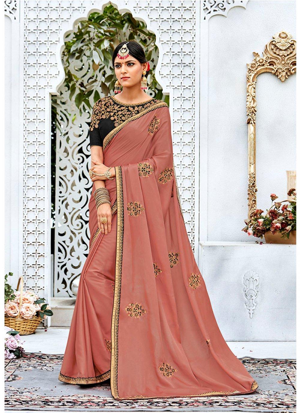 Peach Contemporary Style Saree