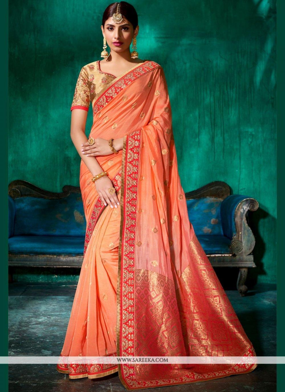 Peach Designer Traditional Saree