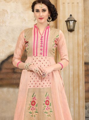Peach Embroidered Art Silk Party Wear Kurti
