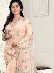 Peach Embroidered Classic Saree