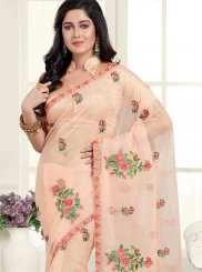 Peach Embroidered Organza Classic Saree