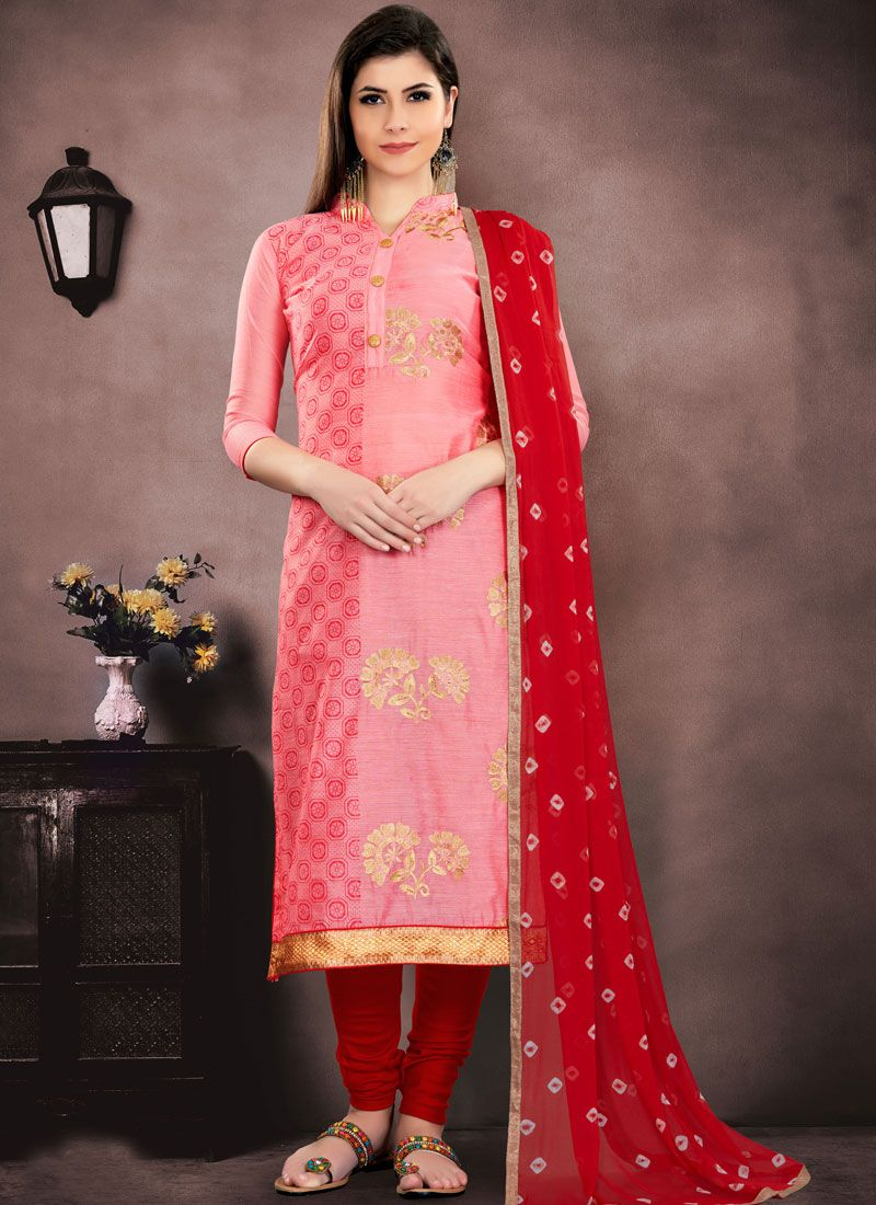 Peach Embroidered Salwar Suit
