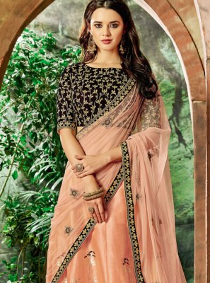 Peach Embroidered Wedding Lehenga Choli