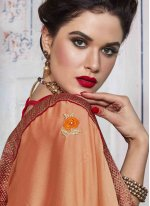 Peach Embroidered Work Bollywood Saree